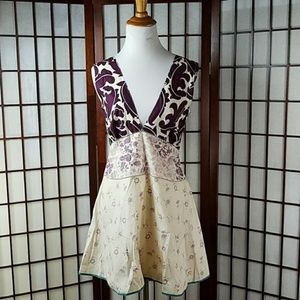 MARNI Sleeveless V Neck Foral A-Line Mini Dress